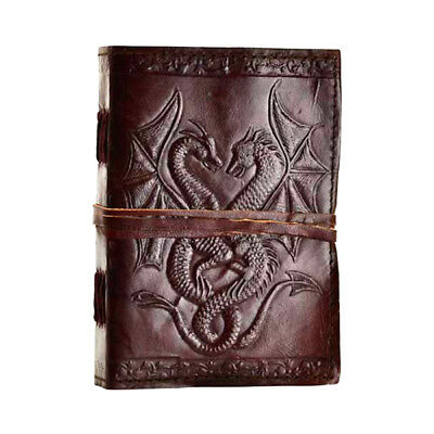 "Double Dragons 7"" Leather Book of Shadows Notebook Journal Linen Parchment Pages"