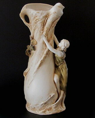 "Fabulous Large Royal Dux Bohemium Art Nouveau Figural Vase 16"" tall"