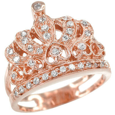 14k Queen Rose Gold Studded CZ Reina Quinceañera 15 Años Conora Crown Ring