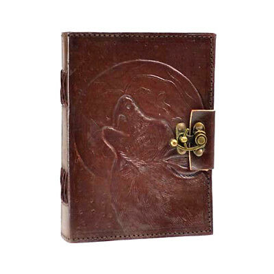 Wolf Howling Moon 7x5 Leather Latched Blank Notebook Journal Diary Handmade