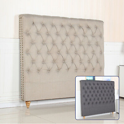 Bed Headboard King Queen Double Padded Upholstered Fabric Beige Charcoal Sean