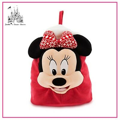 Authentic Disney Minnie Mouse Christmas Holiday Plush Red Sack Bag Bnwt
