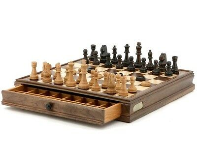 Dal Rossi Italy Chess Checkers Walnut Set with Drawer Piece compartments 15""
