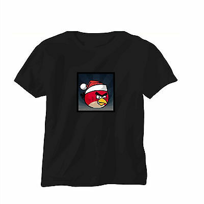 Sound Activated LED T-Shirt Music Disco Party Flashing Angry Bird Glow in  dark