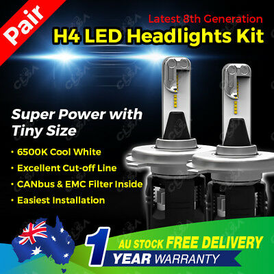 H4 18400Lm Led Car Headlight Kit High Low Beam 9003 Bulb Replace Halogen Xenon