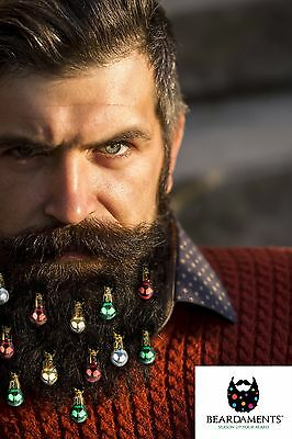 Beardaments - Beard Ornaments - Beard Baubles - (Pack of 12) with MINI-CLIPS.