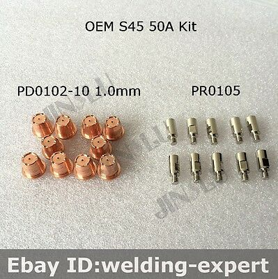 S45 Torch Electrode PR0105 Nozzle Tip PD0102-10 1.0mm 50A 10pcs Each
