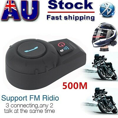 BT 500M Intercom Bluetooth Motorcycle Helmet stereo Headset Interphone+FM Radio