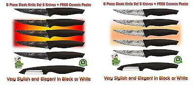 Marble Coated Stainless Steak Knife set Very Stylish with FREE Ceramic Peeler