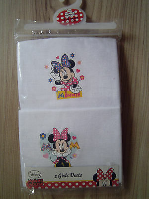 Disney Official Minnie Mouse Kids 2 Pack Girls White Vests Top Set 3-4 Years