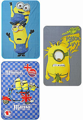 Minions Kids Soft Fleece Blanket Childrens Character Throw - 3 Designs To Choose