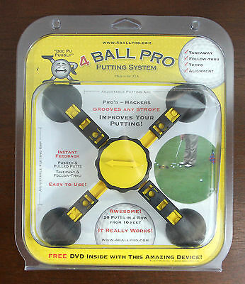 4 Ball Pro Golf Putting System Training Device w/ DVD NIB Made in USA