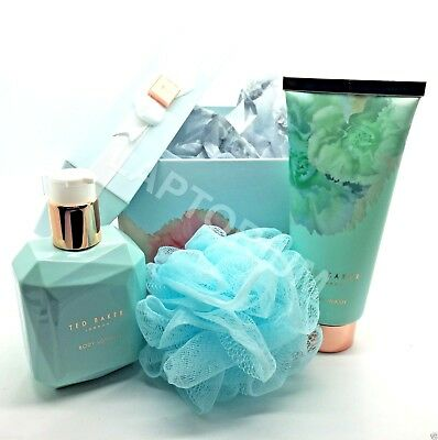 Ted Baker HAT BOX Gift Set Of Full Size Blue Body Wash/ Lotion & Polisher