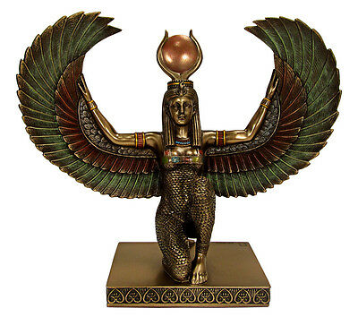 """Isis with Wings Spread Egyptian Goddess Egypt Kemetic Statue 8"""" tall"""