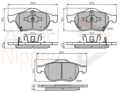 Front Brake Pads For Toyota Avensis 1.8 VVT-i Saloon T22 97-03 129 156.3x54.63mm