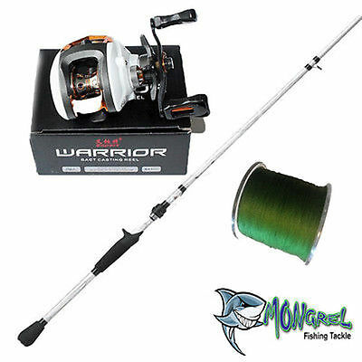 NEW LH Baitcaster Rod & Reel Combo Abu Garcia Rod Warrior reel + 300 meter braid