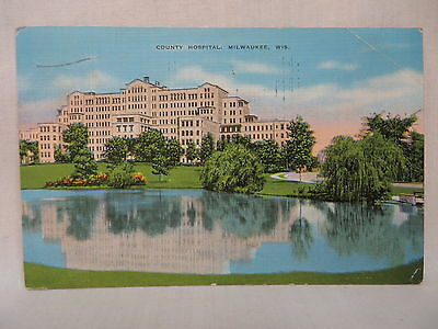 Vintage Linen Postcard The County Hospital In Milwaukee Wisconsin 1940