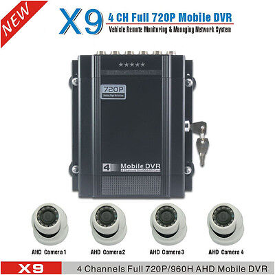 720P 4 Channel Car DVR & H.264 Real-time Car Video Recorder DVR With Dome Camera