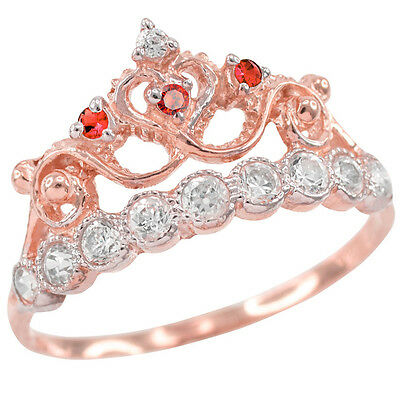 Rose Gold Quinceañera 15 Años Conora Red & White CZ Crown Ring