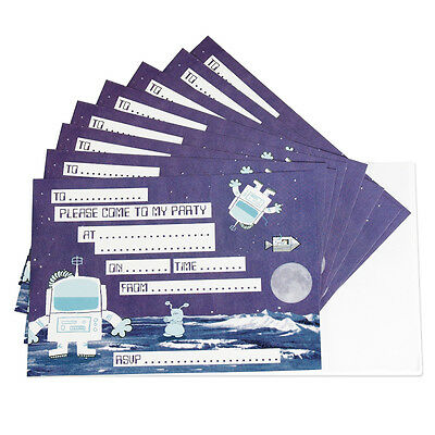 dotcomgiftshop SET OF 8 SPACEMAN CHILDRENS PARTY INVITATIONS WITH ENVELOPES