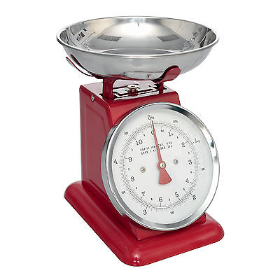 dotcomgiftshop RETRO STYLE RED ENAMEL KITCHEN SCALES WITH STAINLESS STEEL PAN