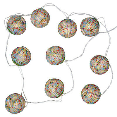 dotcomgiftshop STRING OF 10 PAISLEY PARK DESIGN PARTY PAPER LANTERN FAIRY LIGHTS
