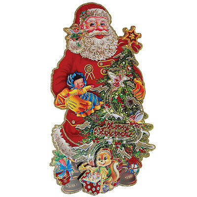 dotcomgiftshop SANTA & TREE CHRISTMAS DECORATION. CARD WALL DECORATION 3D PAPER