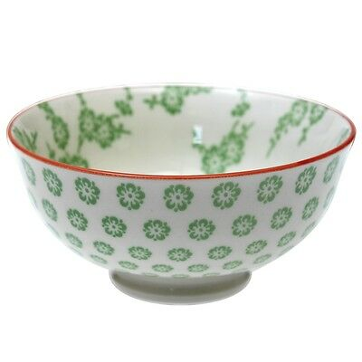 dotcomgiftshop SMALL PORCELAIN JAPANESE BLOSSOM BOWL GREEN BLOSSOM DESIGN