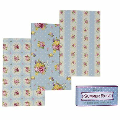 dotcomgiftshop SET OF 3 SUMMER ROSE NOTEBOOKS