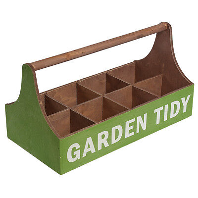 dotcomgiftshop GREEN WOODEN GARDEN TIDY WITH 8 INTERNAL COMPARTMENTS