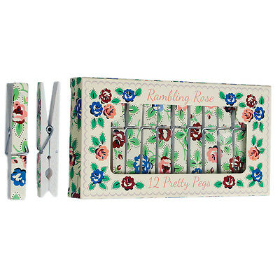 dotcomgiftshop 12 RAMBLING ROSE PRINTED WHITE WOODEN CLOTHES PEGS IN A GIFT BOX