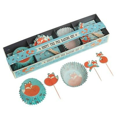 dotcomgiftshop RUSTY THE FOX BAKING SET 24 CUPCAKE FAIRY CAKE CASES & 24 TOPPERS