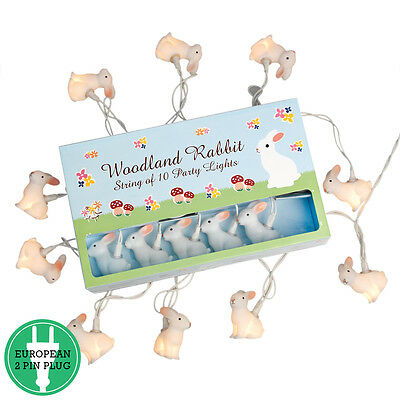 dotcomgiftshop STRING OF 10 SOFT GLOW WOODLAND BUNNY PARTY LIGHTS. EU 2 PIN PLUG