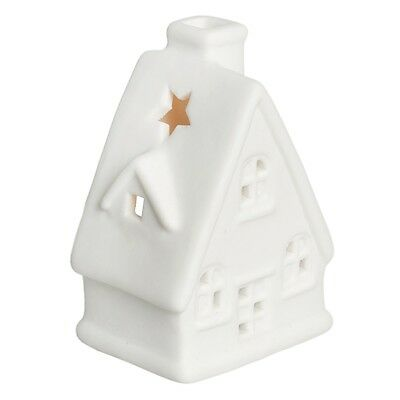 dotcomgiftshop WHITE CERAMIC CHRISTMAS CHALET TEA LIGHT CANDLE HOLDER