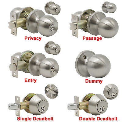 Satin Nickel Door Knobs Handles Lock Set Entrance Privacy Passage Dummy  Deadbolt