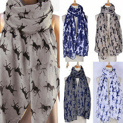Women Lady Running Horse Print Scarf Animal Shawl Warm Neck Wrap Stole Pashmina