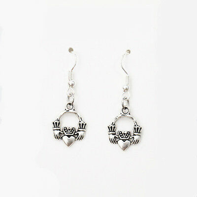 Antique Silver Alloy Claddagh Crown Love Celtic Earrings 925 Sterling Hooks NEW