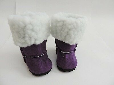 Blue Suede Sherpa Boots fits American Girl Doll