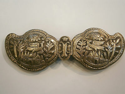 ANTIQUE OLD UNIQUE FOLKLORE SILVER BELT CLASP BUCKLE 19'c - Church /Bird /Sun