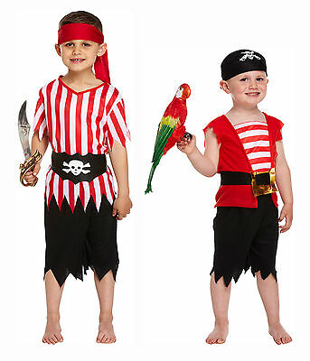 Pirate Carribean Dressing Up Costume Kids Fancy Dress Boys Toddlers Age 3-12 Yrs