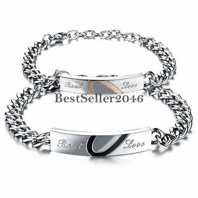 Stainless Steel Mens Womens Couples Promise ID Chain Bracelet Engraved Real Love
