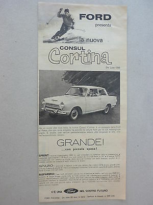 ADVERTISING PUBBLICITA'  FORD presenta la nuova CONSUL CORTINA  --1962