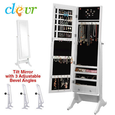 Clevr White Mirrored Jewelry Cabinet Armoire Mirror Organizer Storage Box Stand