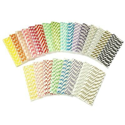 Paper Straws x 25 Striped Polka Dot Drinking Wedding Birthday Party Supplies