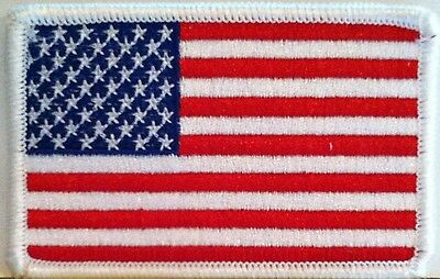 American Flag 3 x 2 Patch Iron-On White Border US United States Shoulder #03