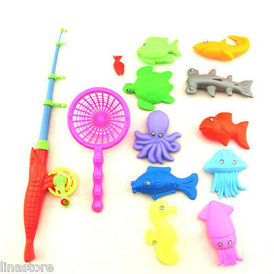 12Pc Kids Fishing Toy Rod Model Fish Kid Children Baby Bath Time Fun Party Game