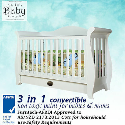 Brand New Premium Baby Bedroom Furniture Baby Cot 3 in 1 Sleigh Cot  SAFETY