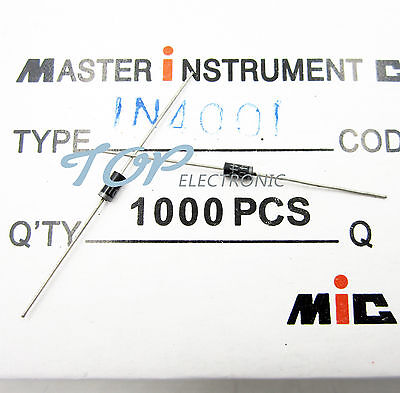 100PCS 1N4001 IN4001 DO-41 1A 50V Rectifier Diodes NIUS