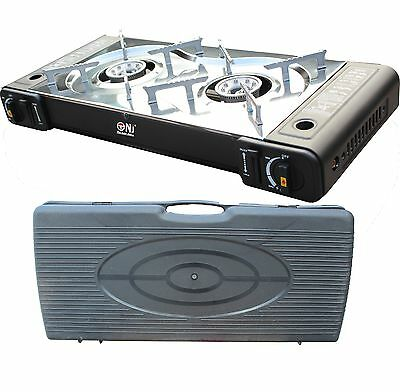 Portable Gas Stove Cooker 2 burners Camping Outdoor BBQ Caravan CASE PS-268 New