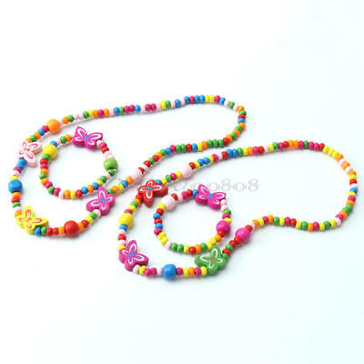 2 Sets Children's Girls Butterfly Decor Wood Beads Necklace Bracelet Jewelry